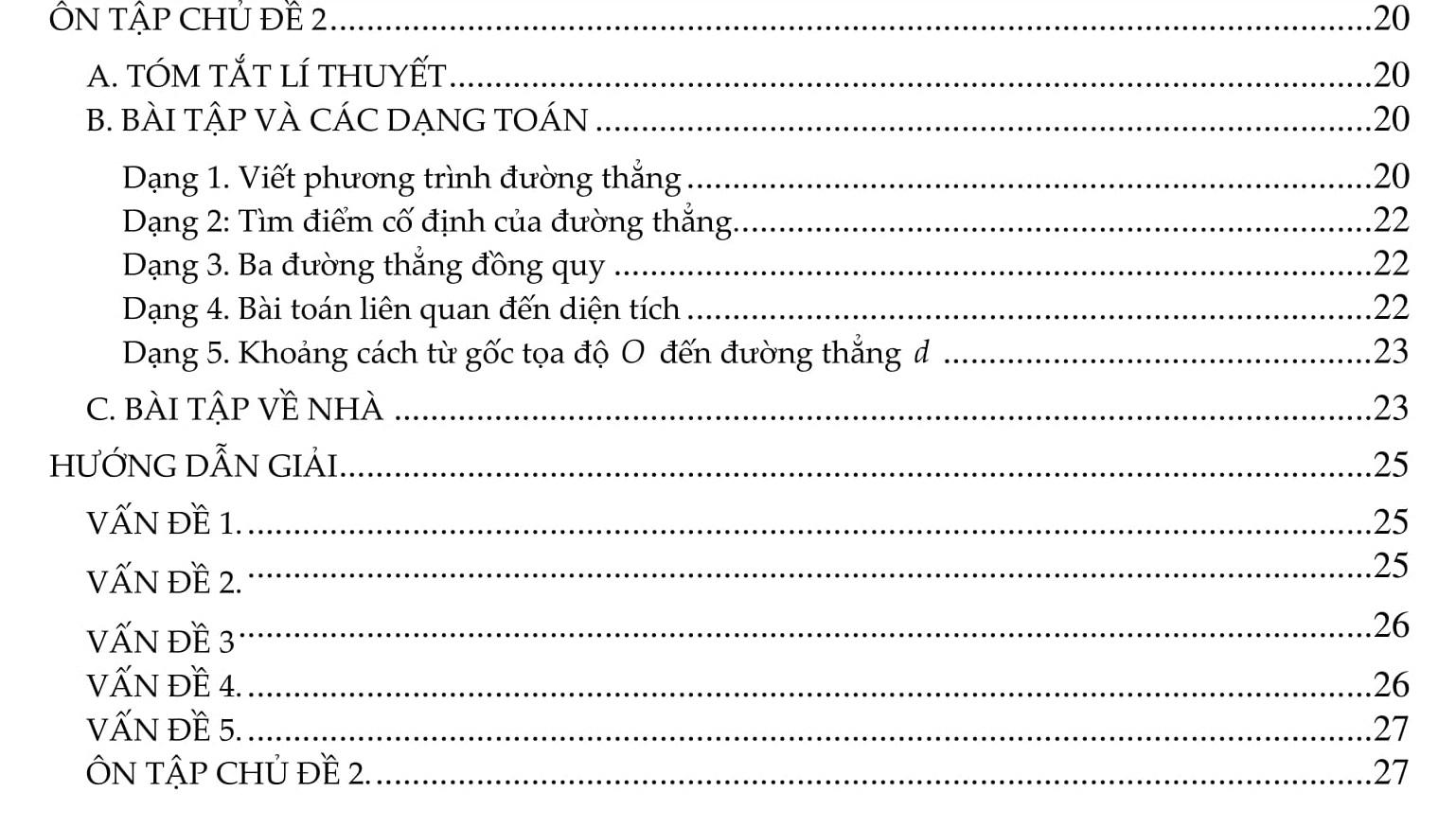 Đại số Chủ đề 2: Hàm số bậc nhất