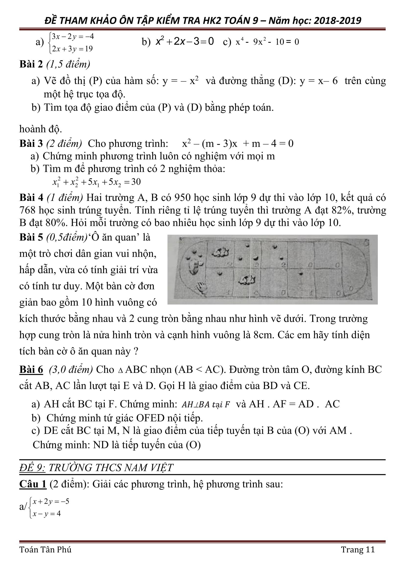 Đề kiểm tra mẫu HKII Toán 9 (2018 - 2019)