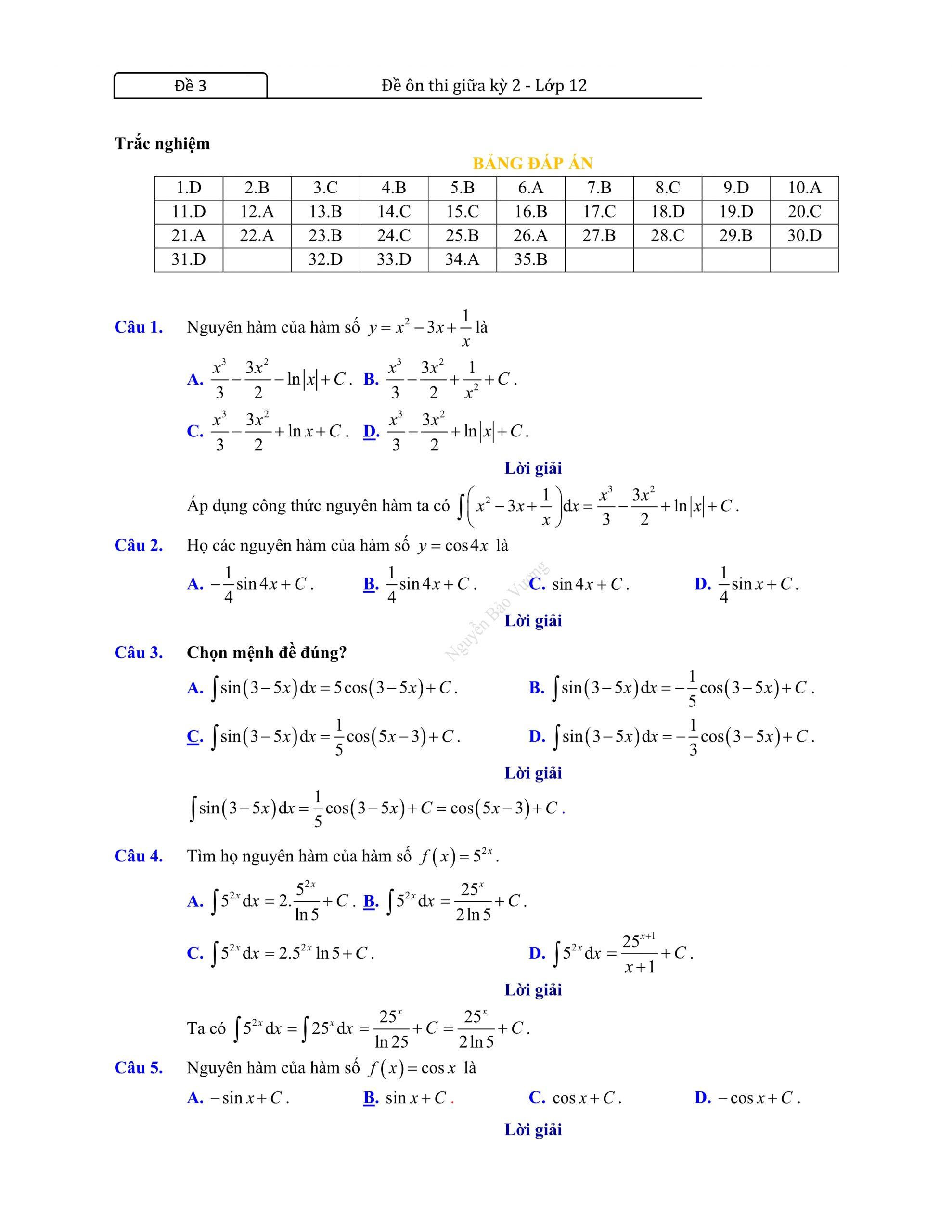 Đề thi giữa hk2 toán 12 mới chuẩn chuong trinh mới nhất 2021