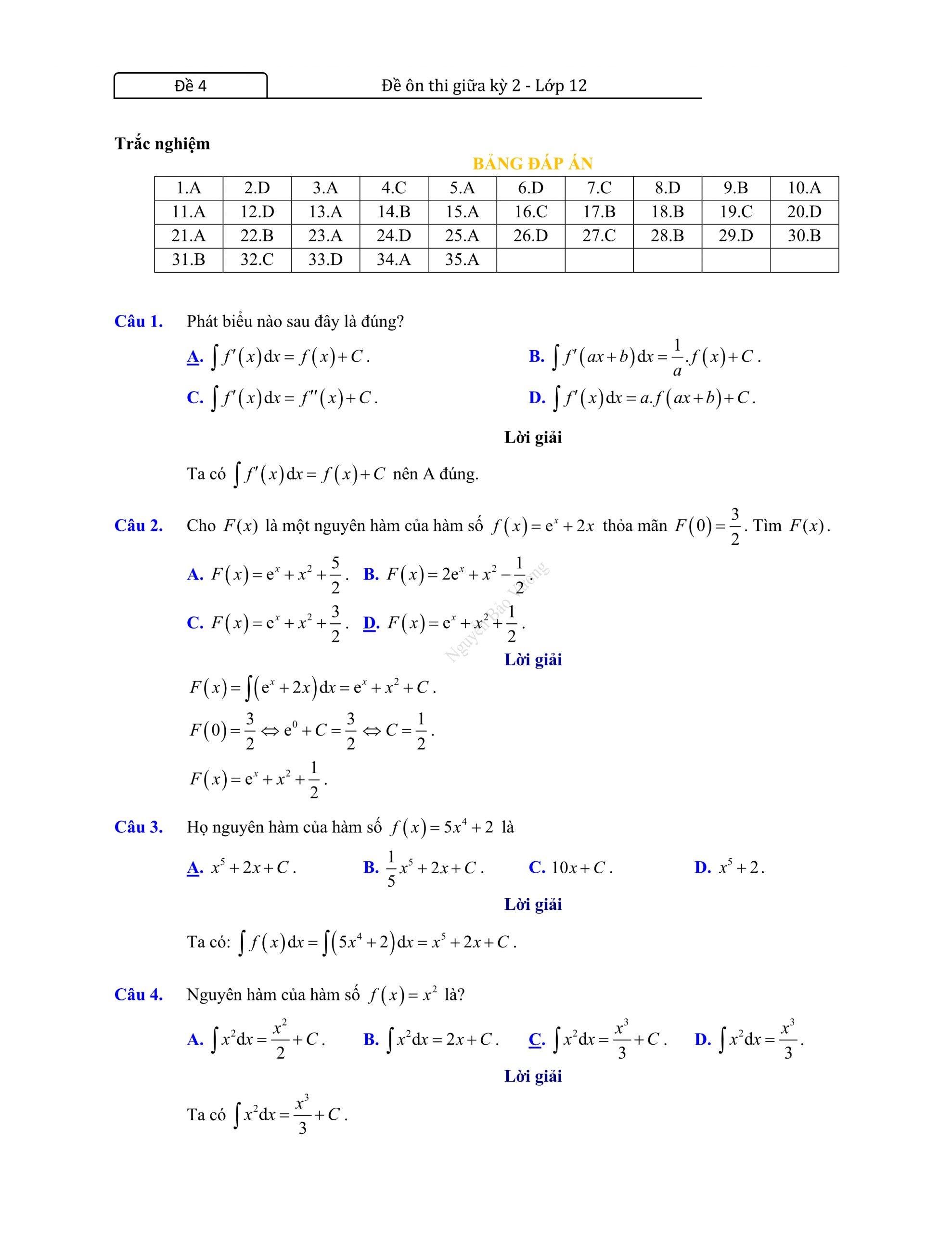 Đề thi giữa hk2 toán 12 có đáp án cụ thể