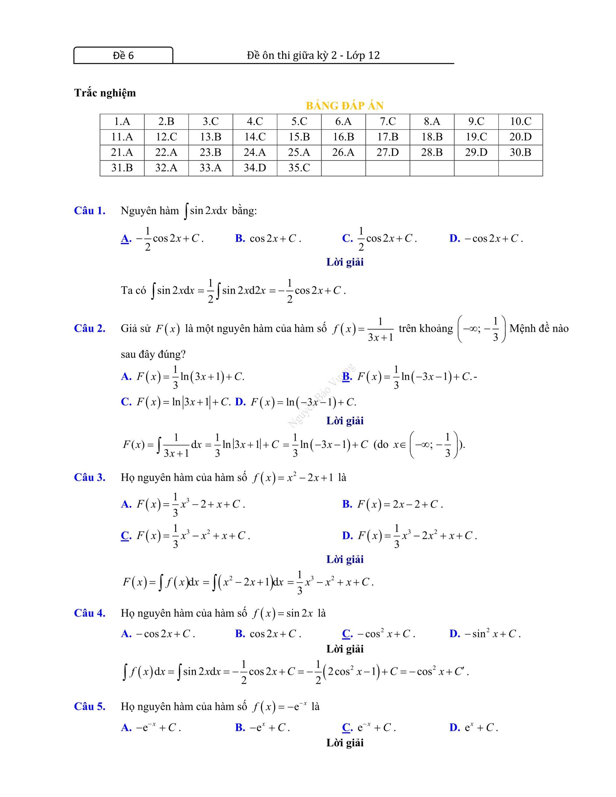 Đề thi giữa hk2 toán 12 có đáp án 2021 bản đẹp