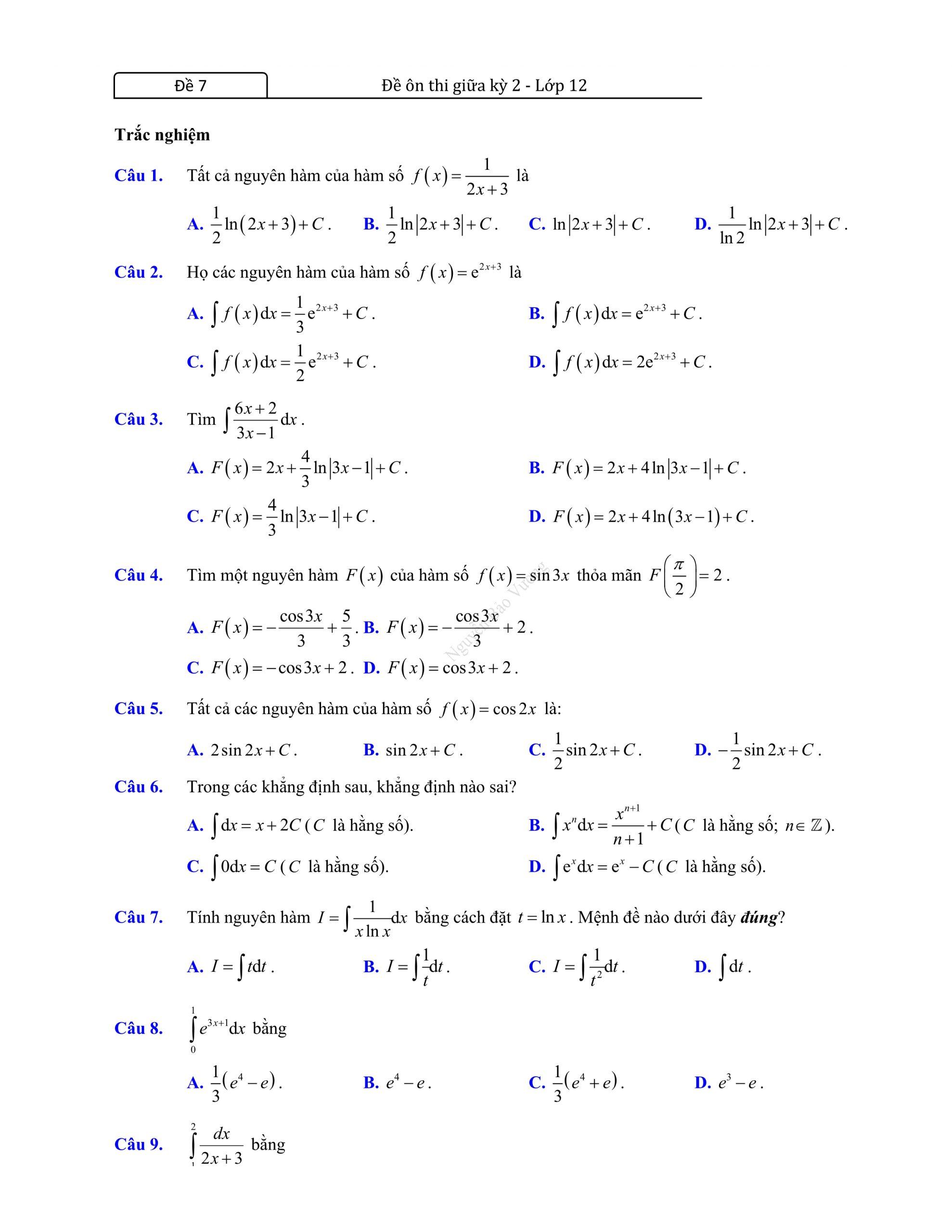 Đề thi giữa hk2 toán 12 có đáp án 2021 bản đẹp hot