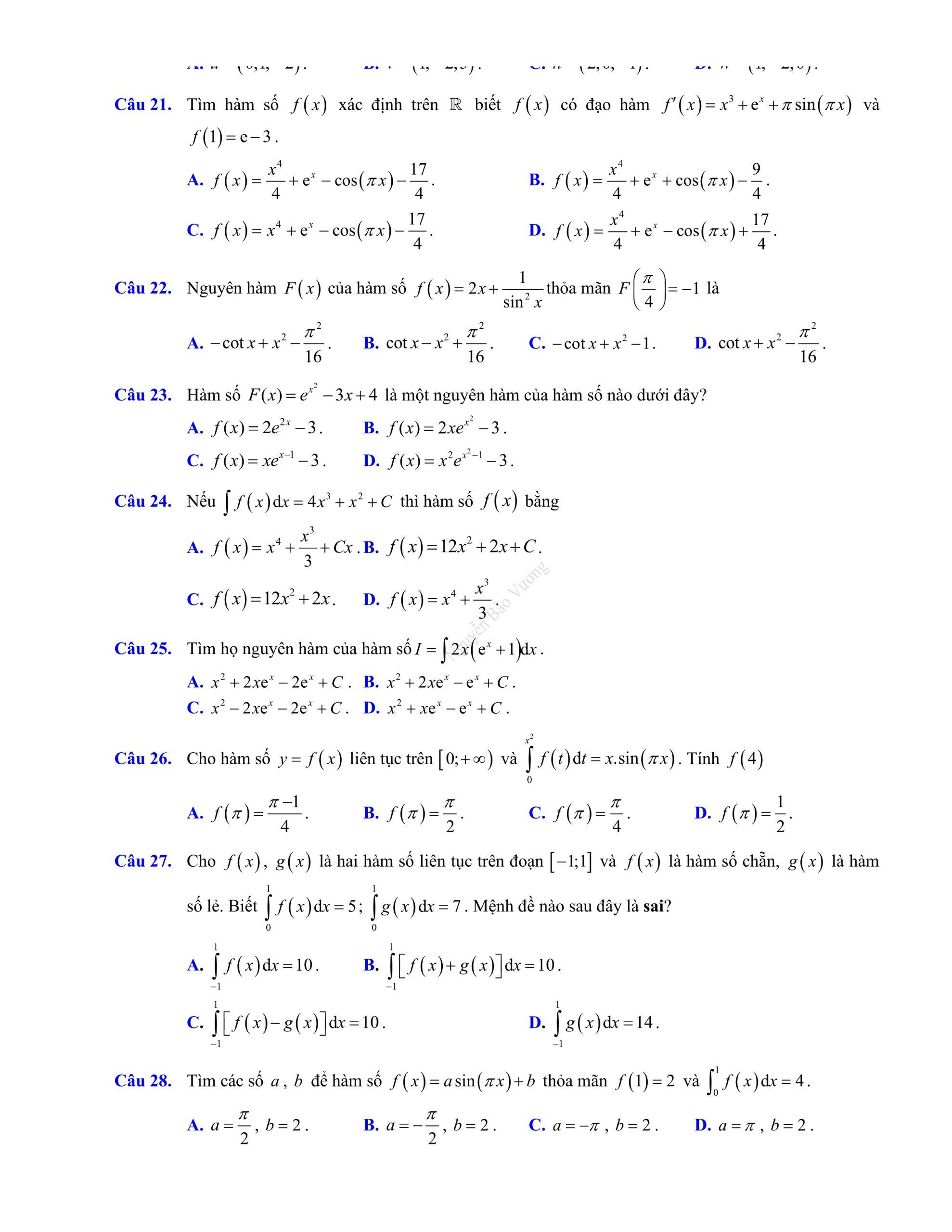 Đề thi giữa hk2 toán 12 có đáp án 2021 bản đẹp chuẩn