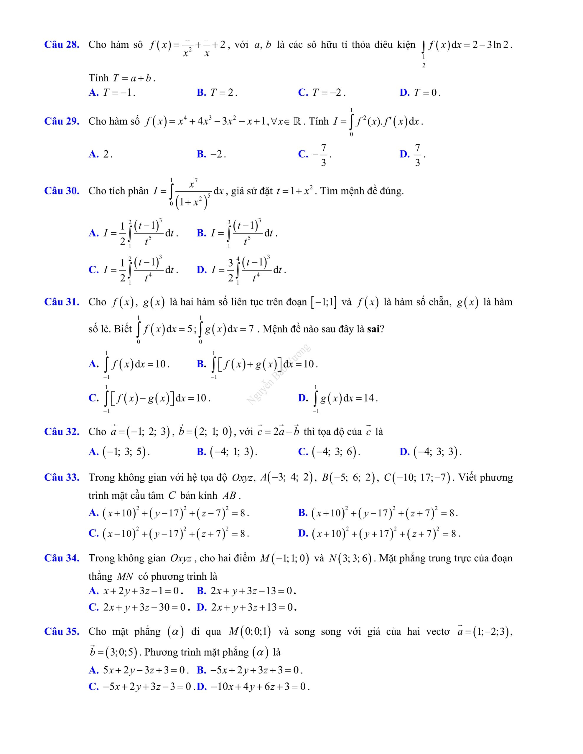Đề thi giữa hk2 toán 12 có đáp án 2021 chuẩn sgk chất lượng