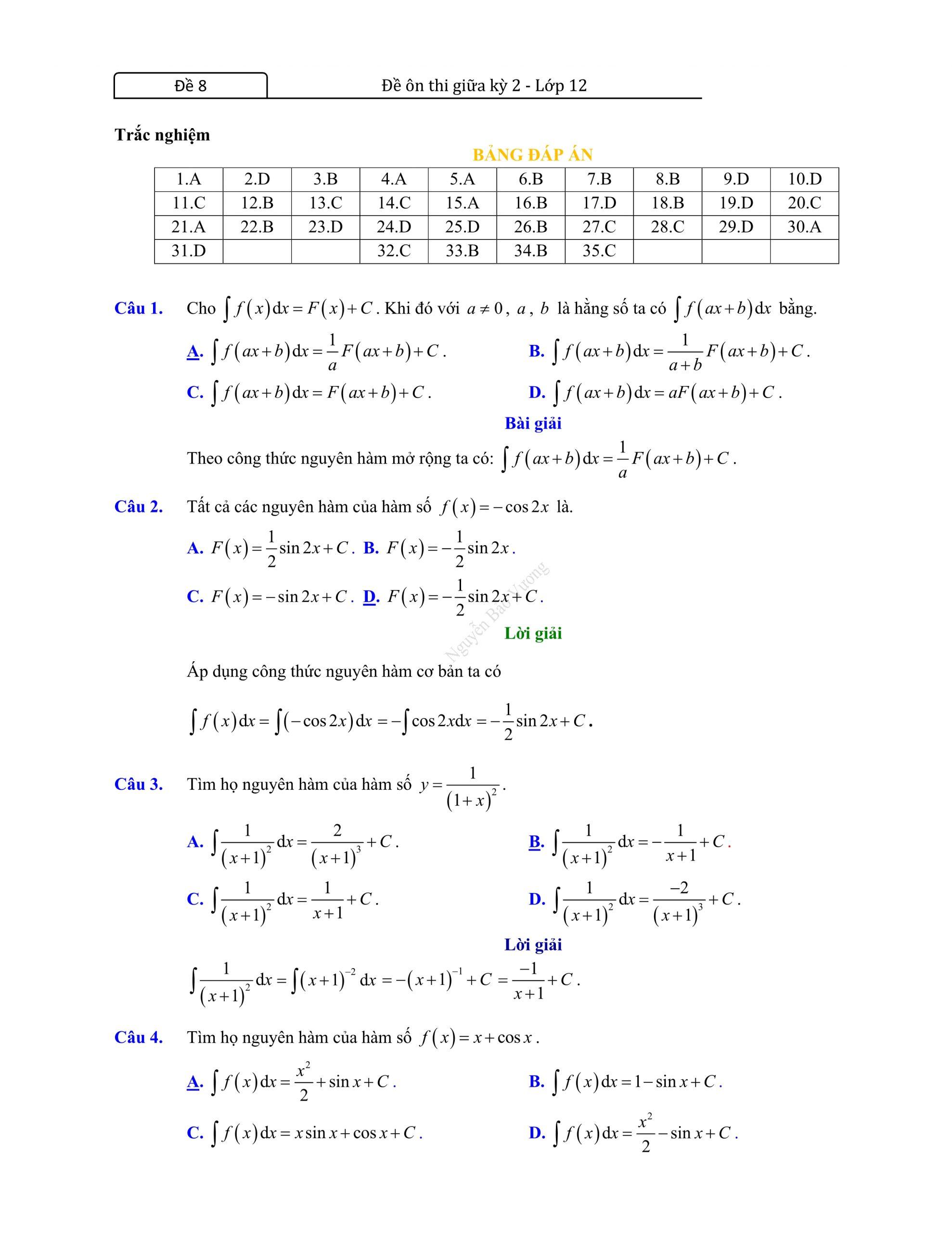Đề thi giữa hk2 toán 12 có đáp án 2021 chuẩn sgk đáp án
