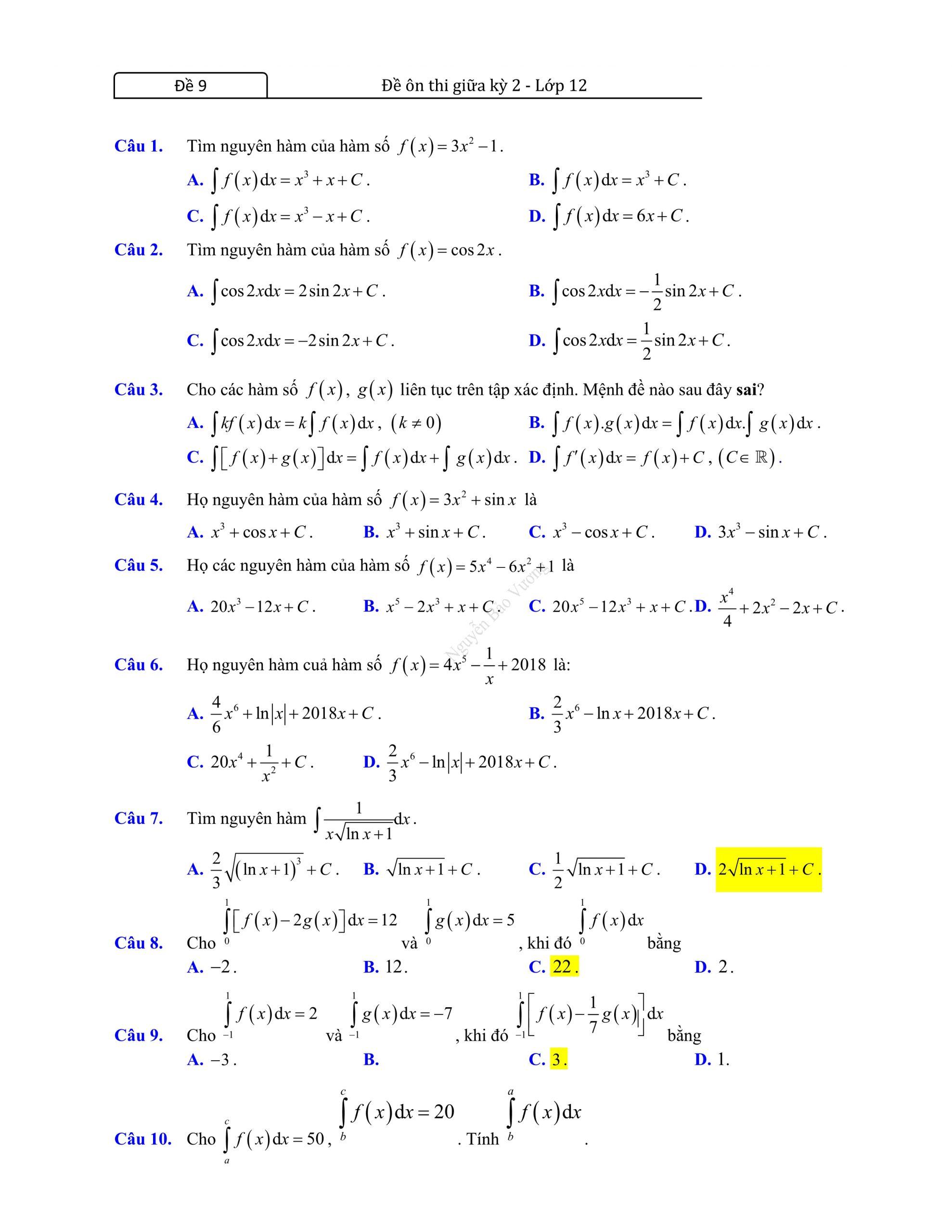 Đề thi giữa hk2 toán 12 có đáp án 2021 dễ hiểu