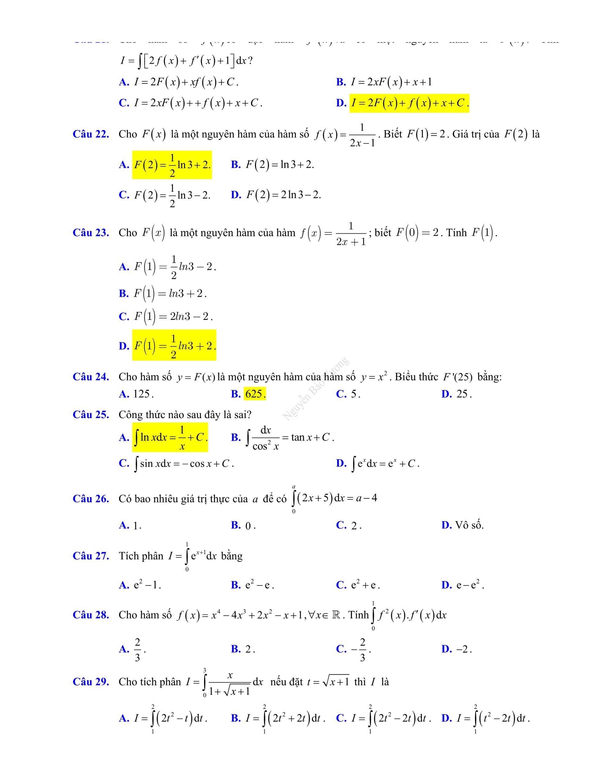 Đề thi giữa hk2 toán 12 có đáp án 2021 dễ hiểu dễ ôn tập