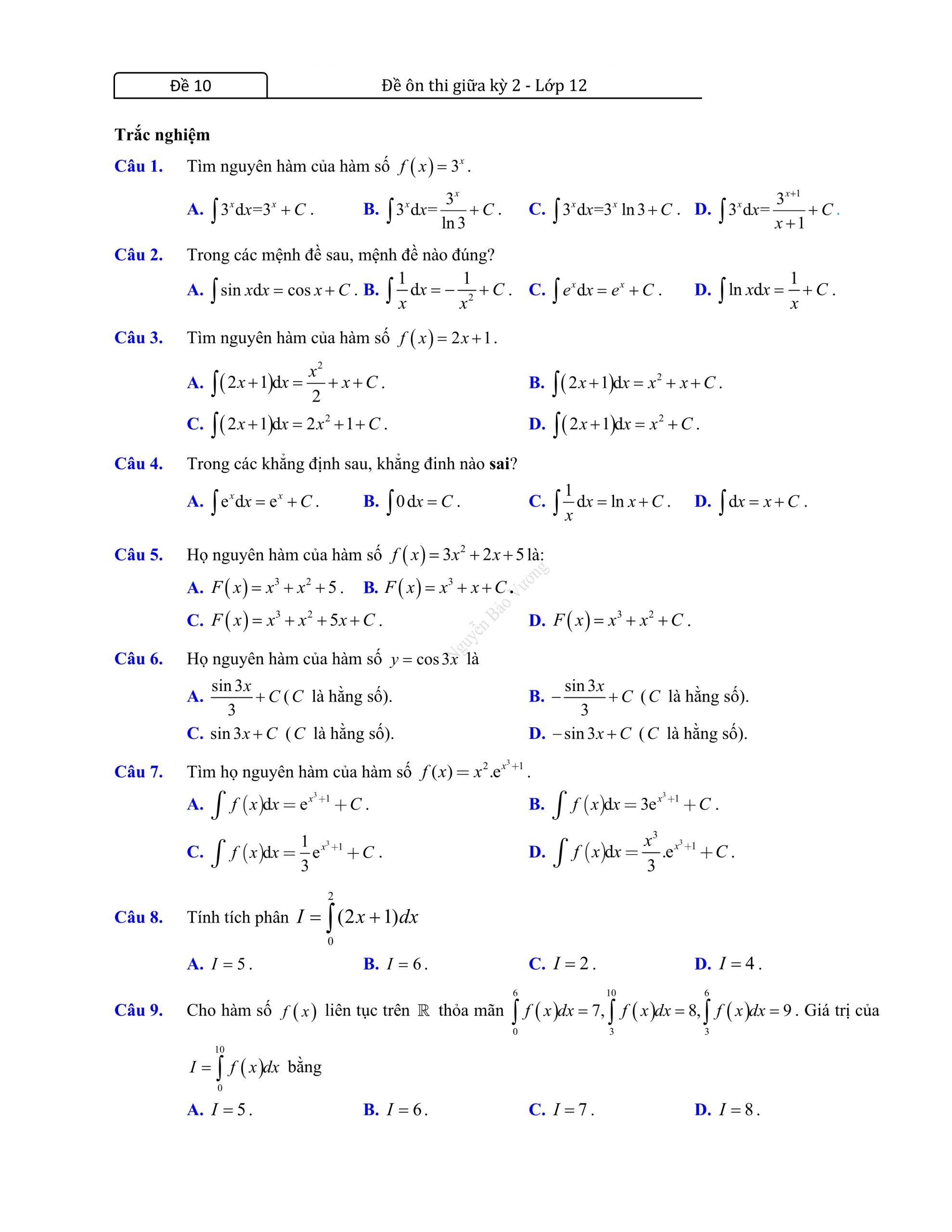 Đề thi giữa hk2 toán 12 có đáp án dễ hiểu và hay 2021