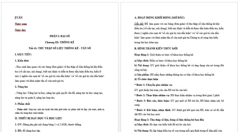Download Giáo Án Toán 7 Theo Công Văn 5512 - Bản Word New