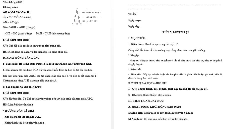 Download Giáo Án Toán 7 Theo Công Văn 5512 - Bản Word