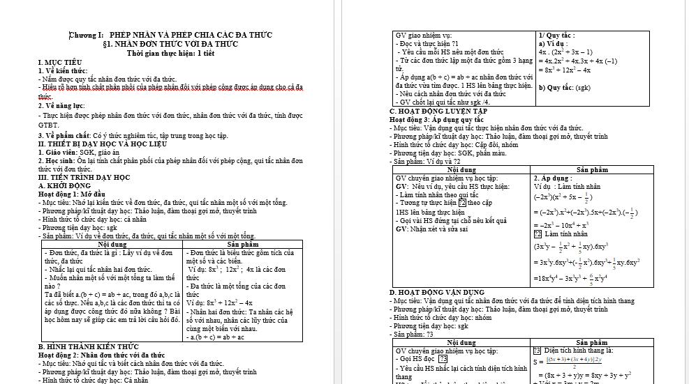 Download Giáo Án Toán 8 Theo Công Văn 5512 - Bản Word