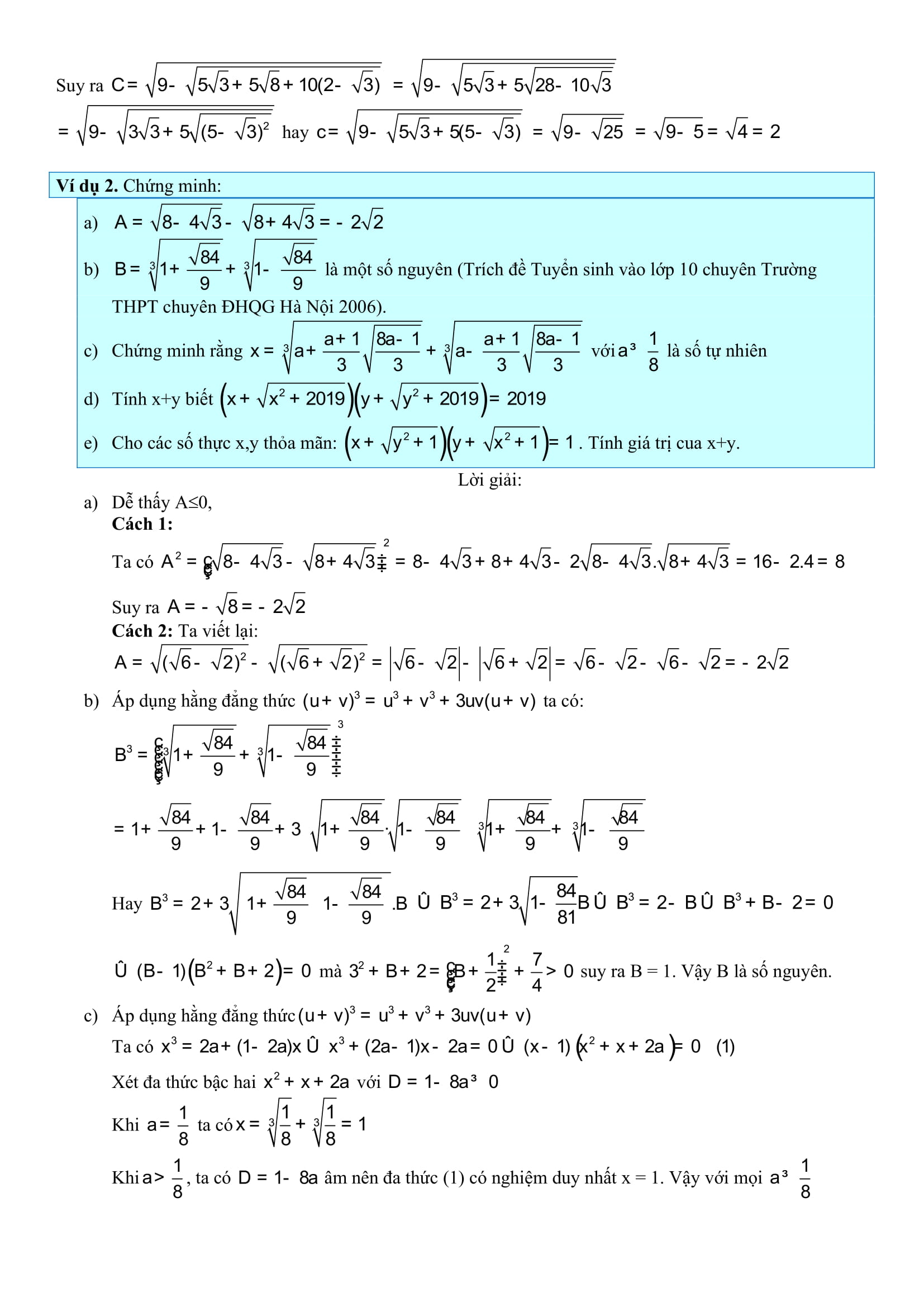 Hệ thống lý thuyết và bài tập toán Đại số 9 phần 1