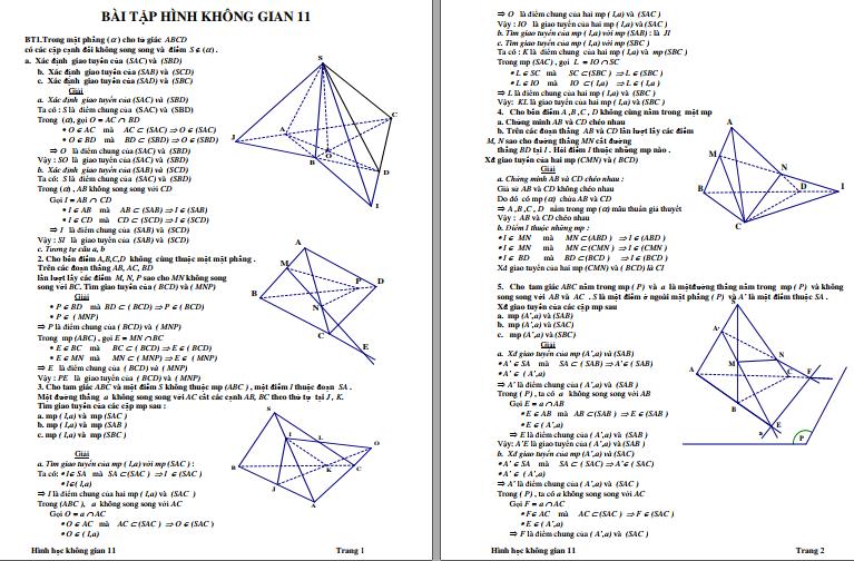 Hướng dẫn giải Hình Học Không Gian Toán 11 qua bài tập cụ thể