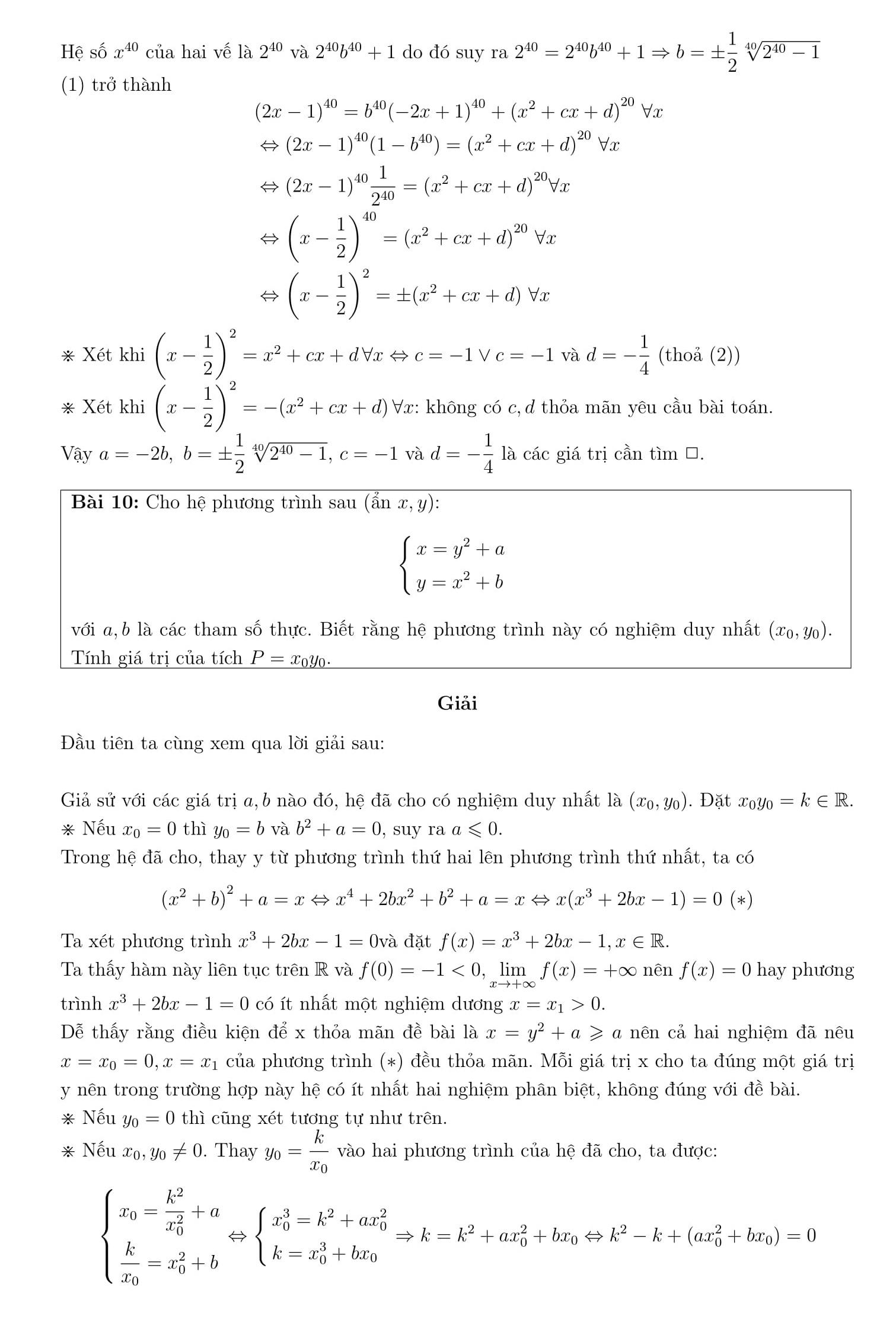 Phương trình và hệ phương trình phần 2 - Toán 12