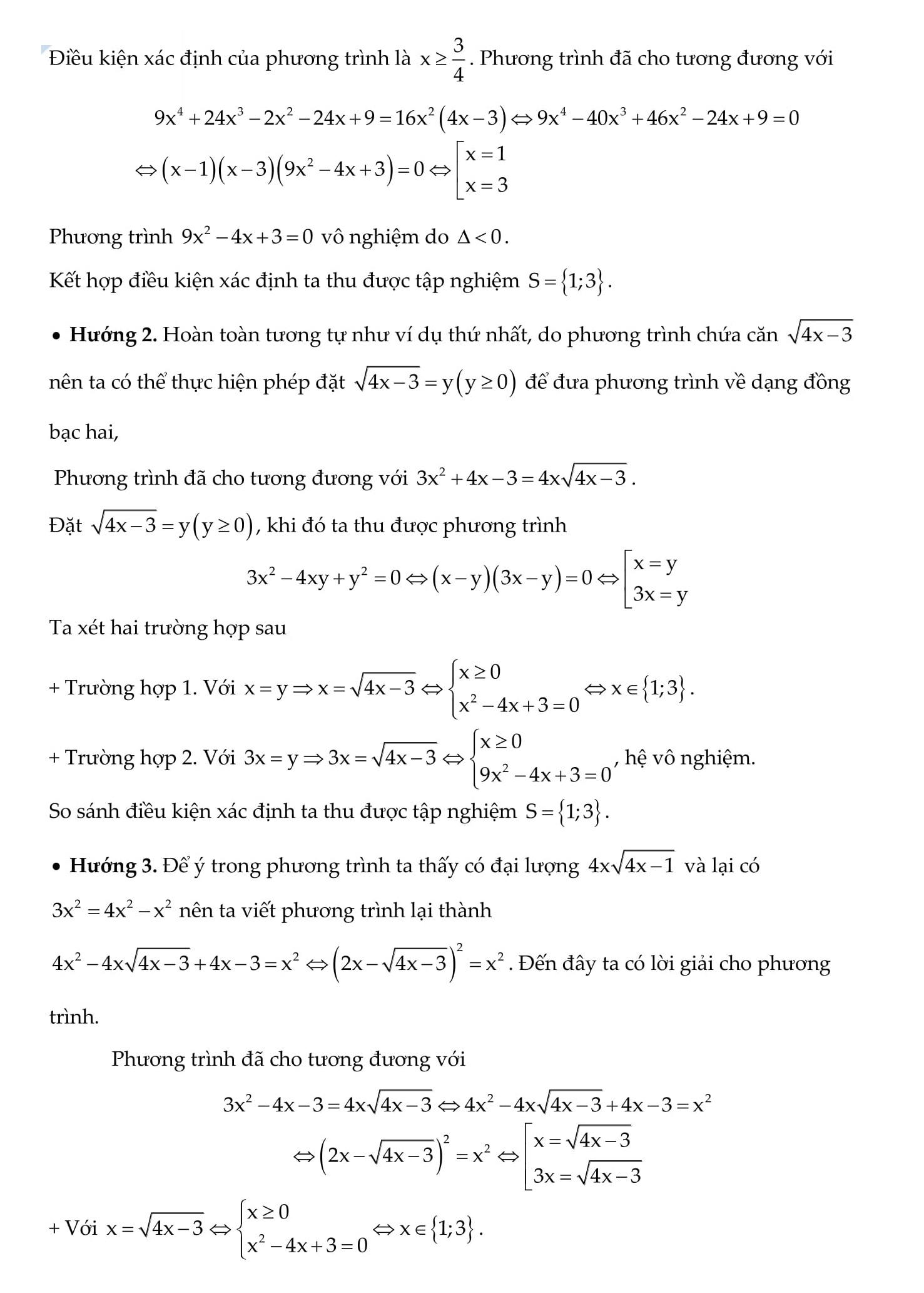 Chuyên đề Toán 9: Phương trình vô tỉ (bài tập + giải)