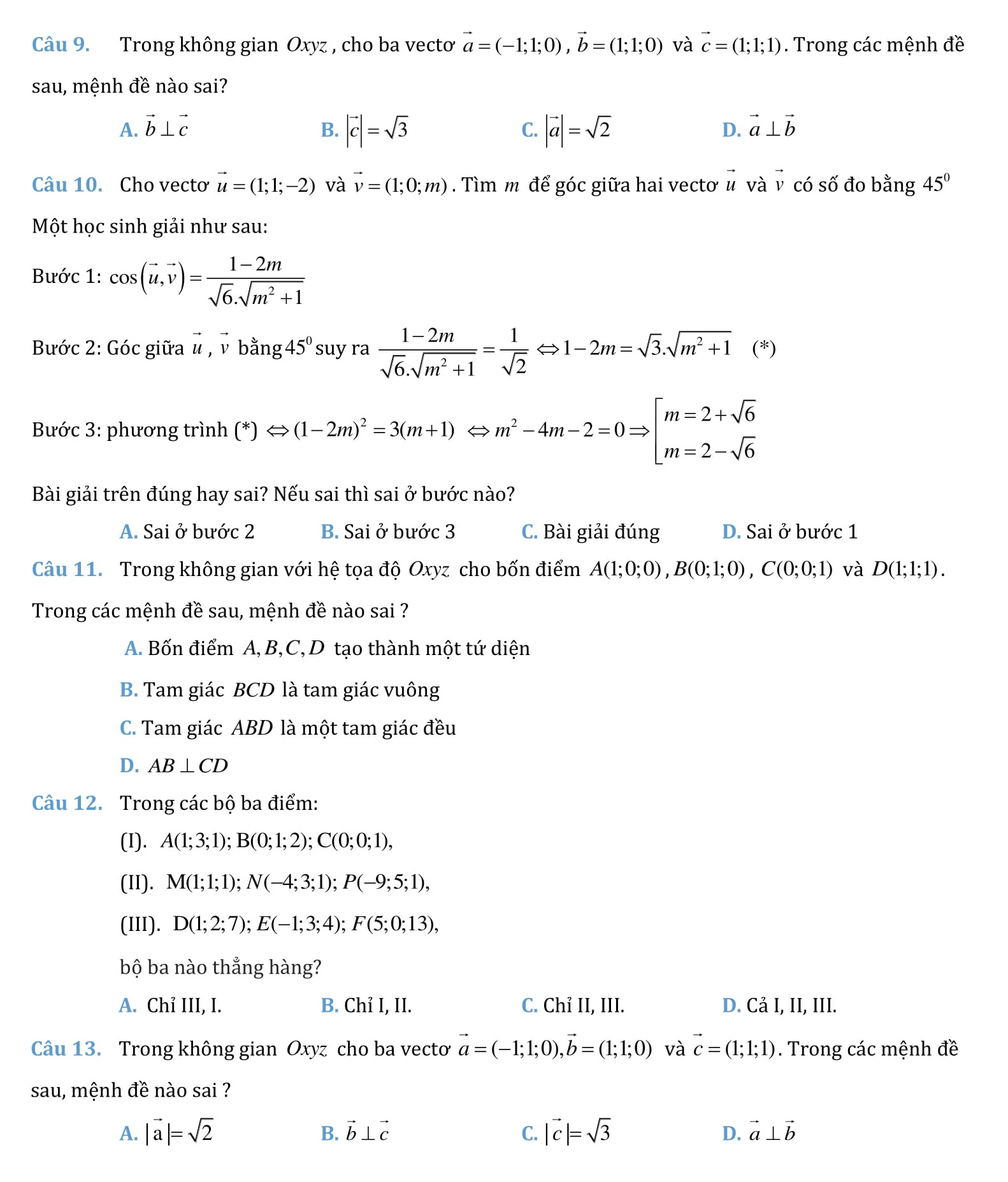 Tọa độ không gian - Chuyên đề toán 12 (bài tập + giải)