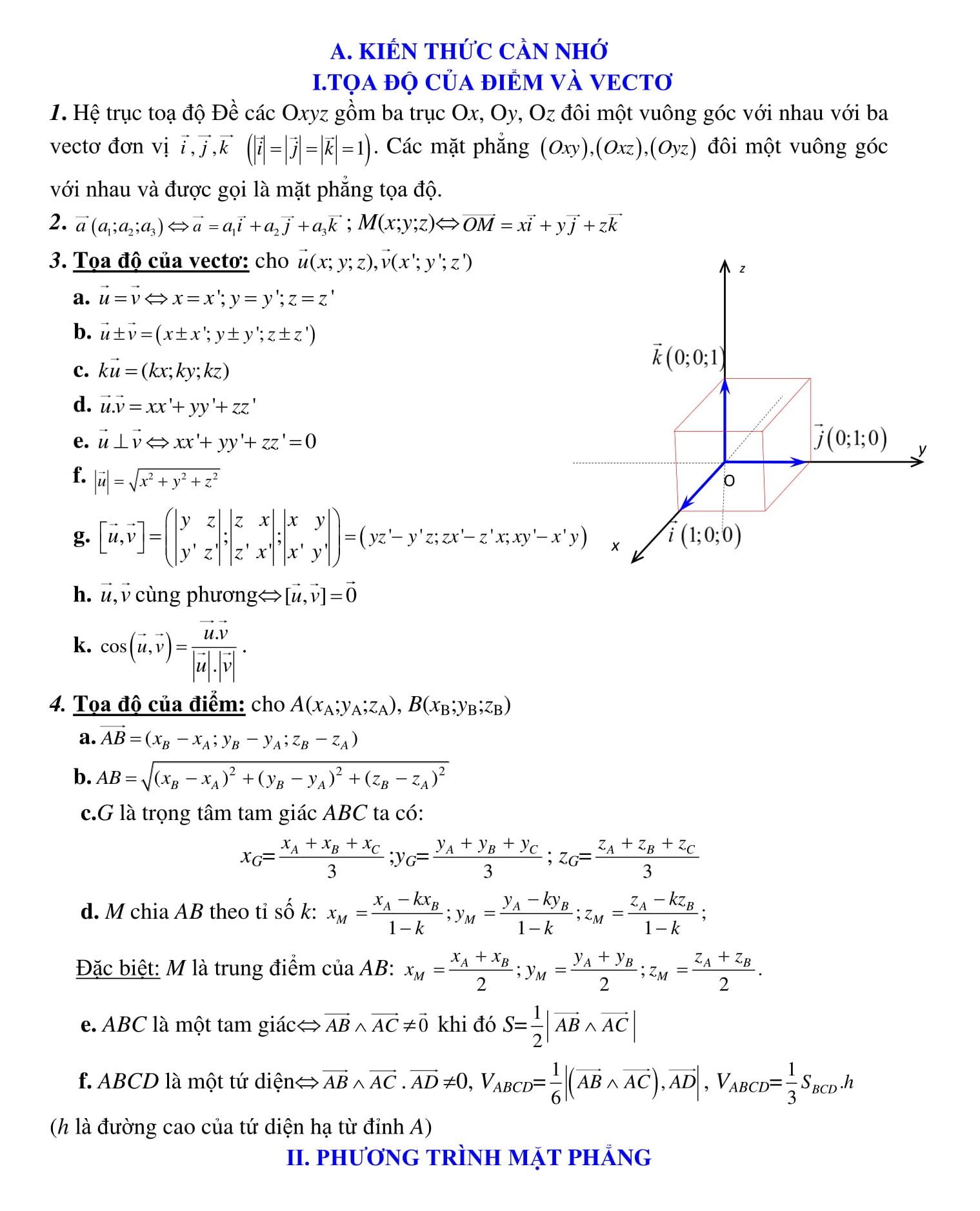 Phương trình tọa độ trong không gian (bài tập + giải)