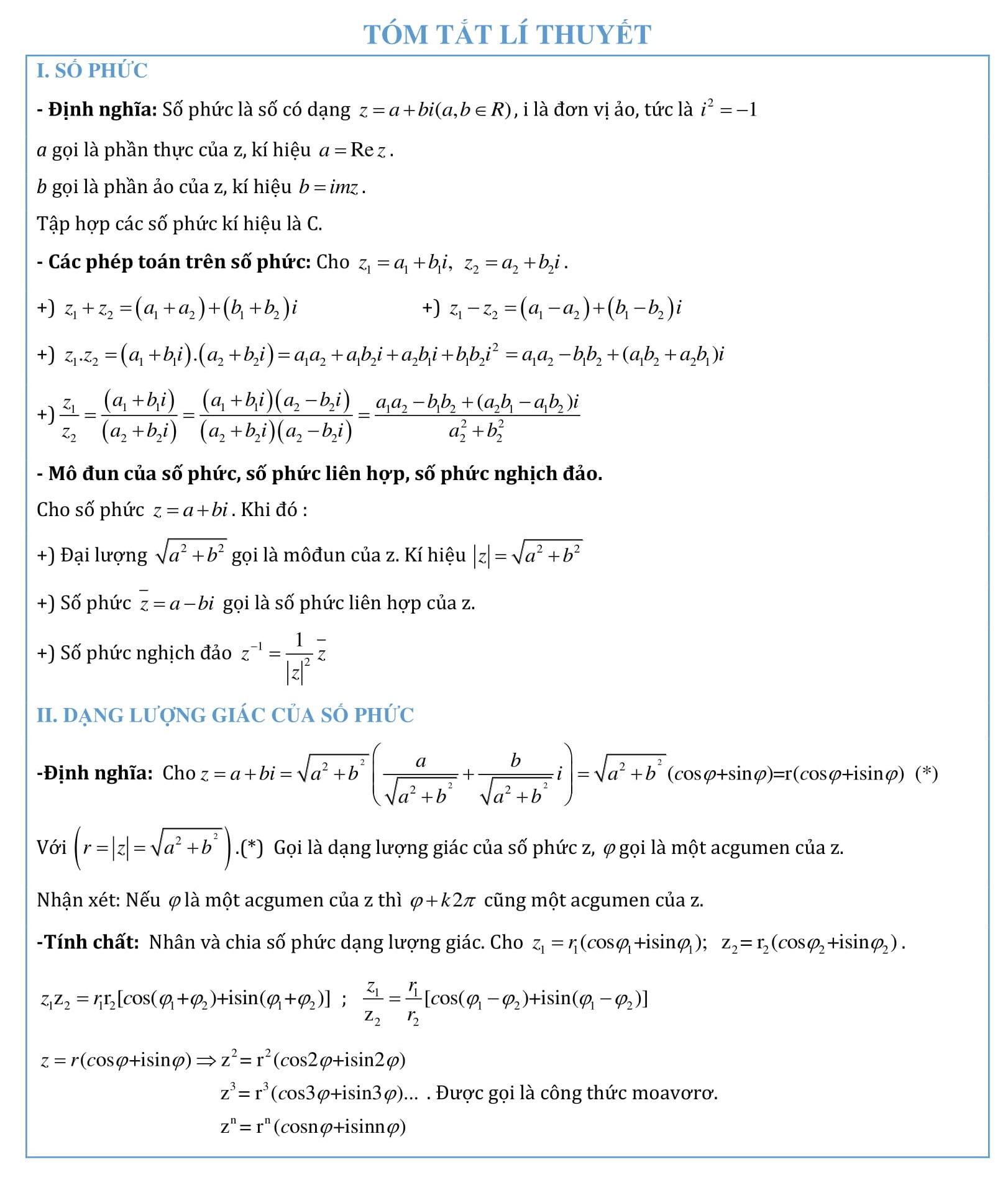 Chuyên đề Số phức - Toán đại số 12