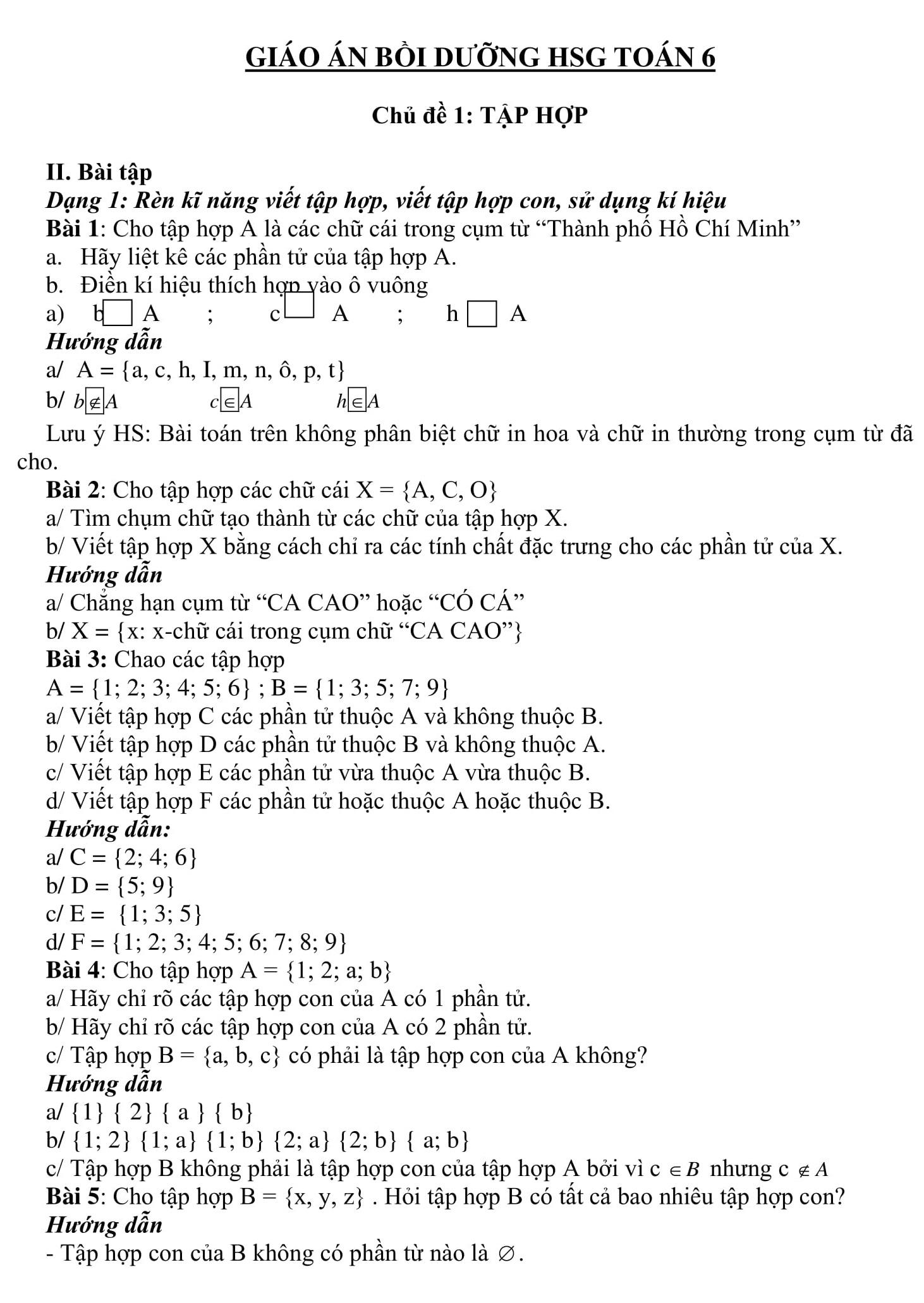 Giáo án bồi dưỡng Toán 6 (hình học + đại số)