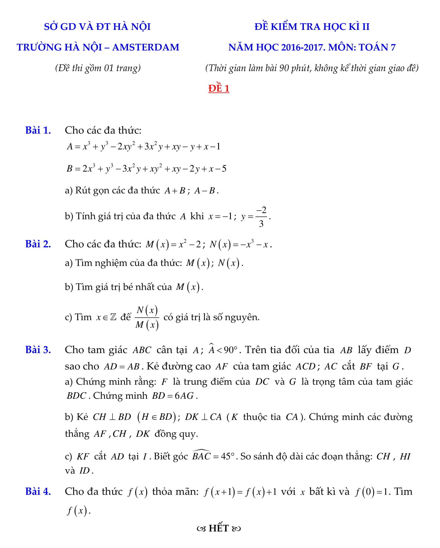 Đề thi HK2 toán 7 có lời giải được tổng hợp