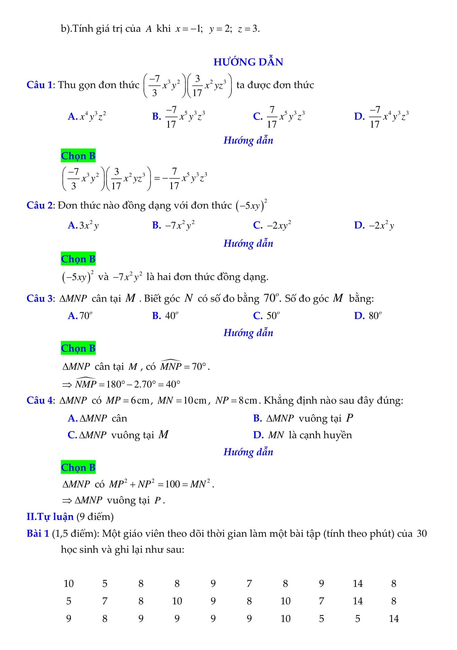 Đề thi giữa HK2 toán 7 có lời giải