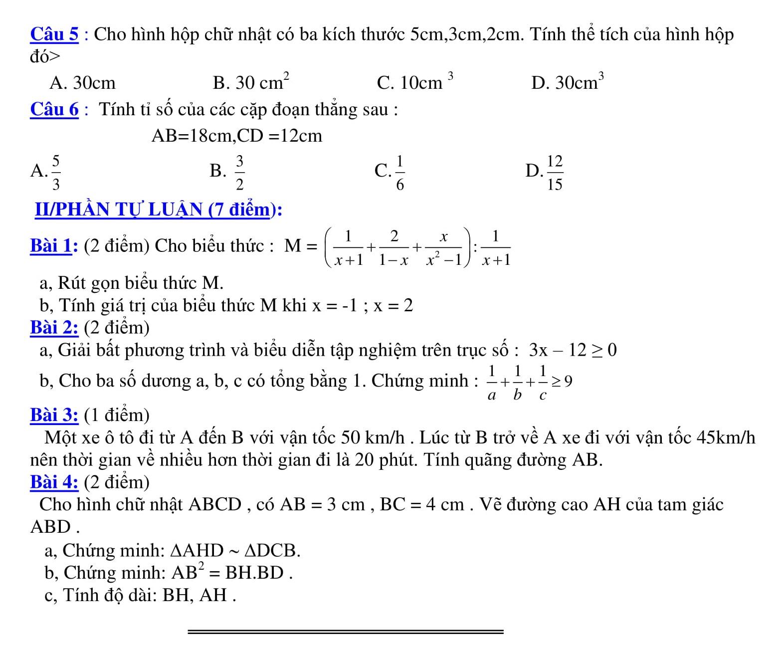 27 Đề thi HK2 toán 8 được tổng hợp qua các năm