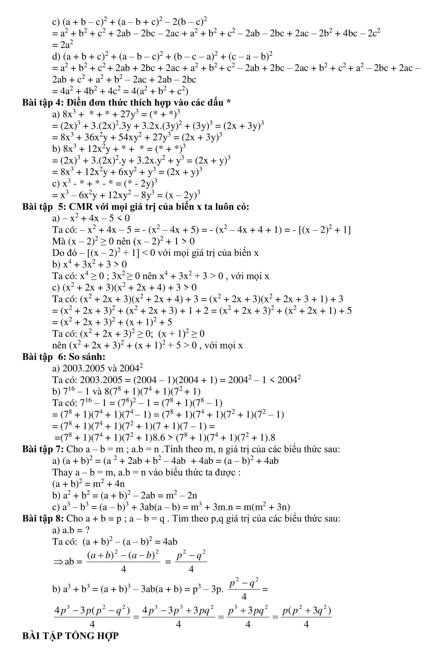 Tổng hợp các dạng bài tập có trong đề thi - Toán 8