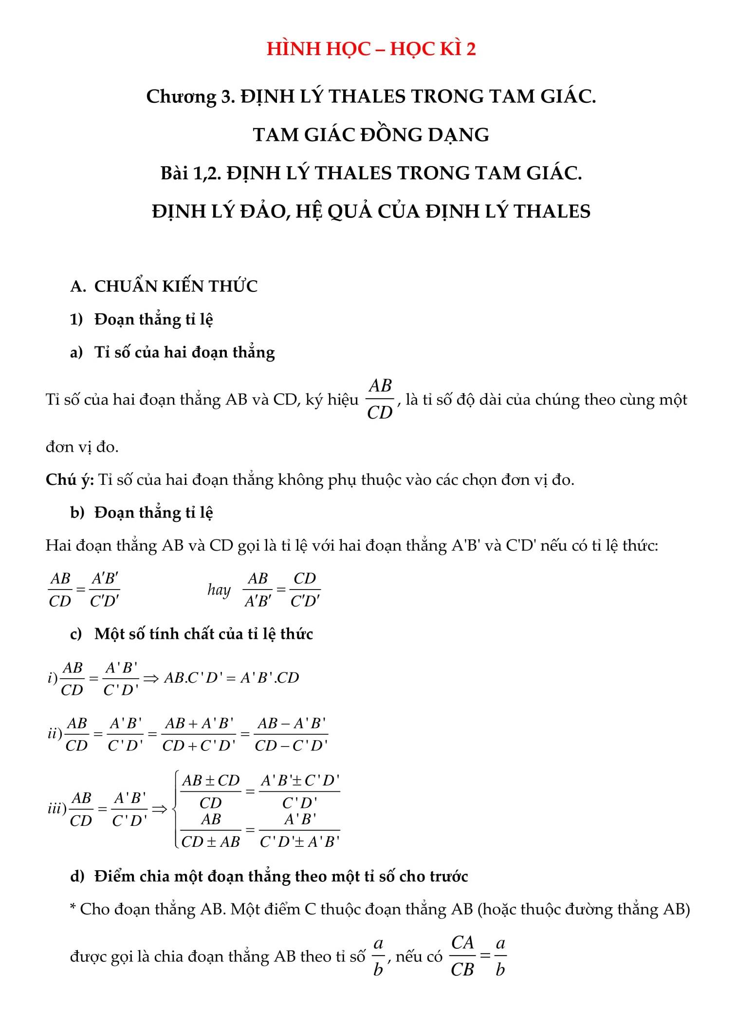Đề cương hình học Hk2 toán 8 được tổng hợp