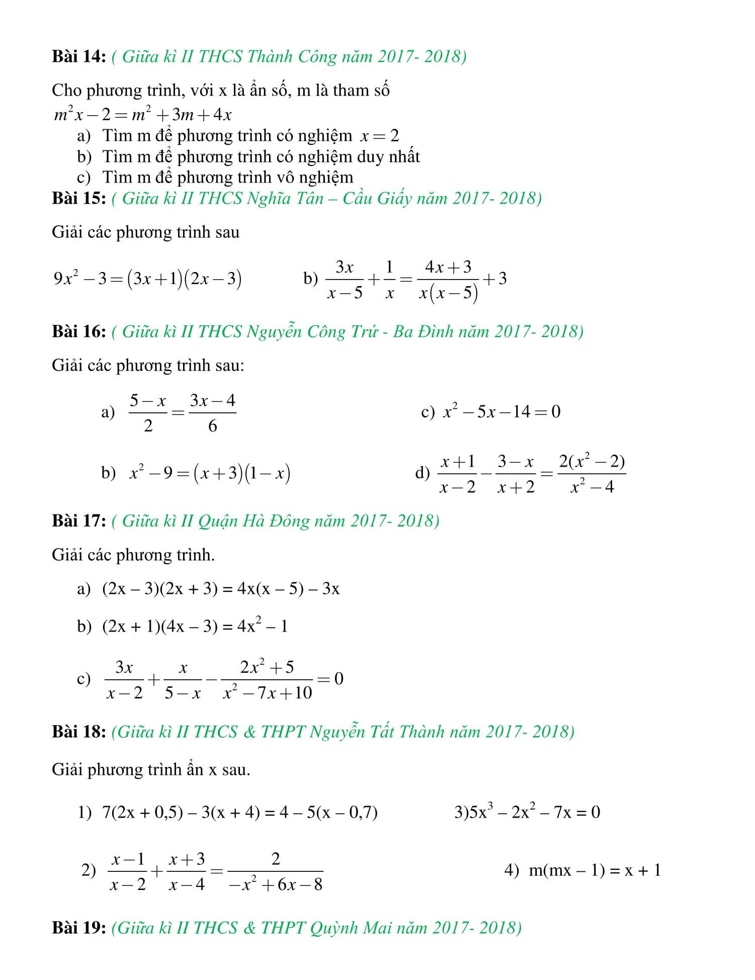 Đề thi giữa HK2 toán 8 giúp ôn tập hiệu quả