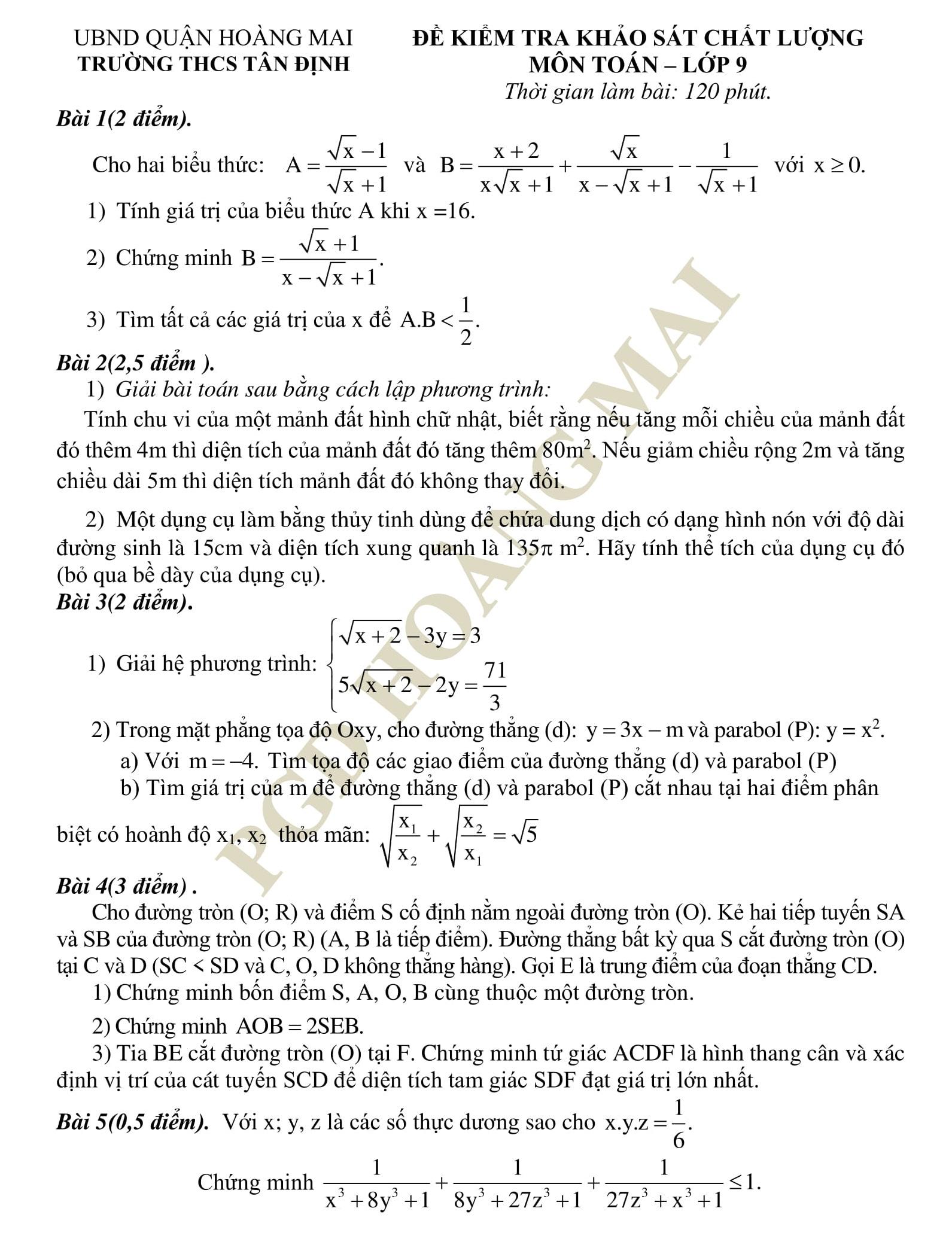 15 Đề thi khảo chất lượng HK2 toán 9 tổng hợp qua các năm