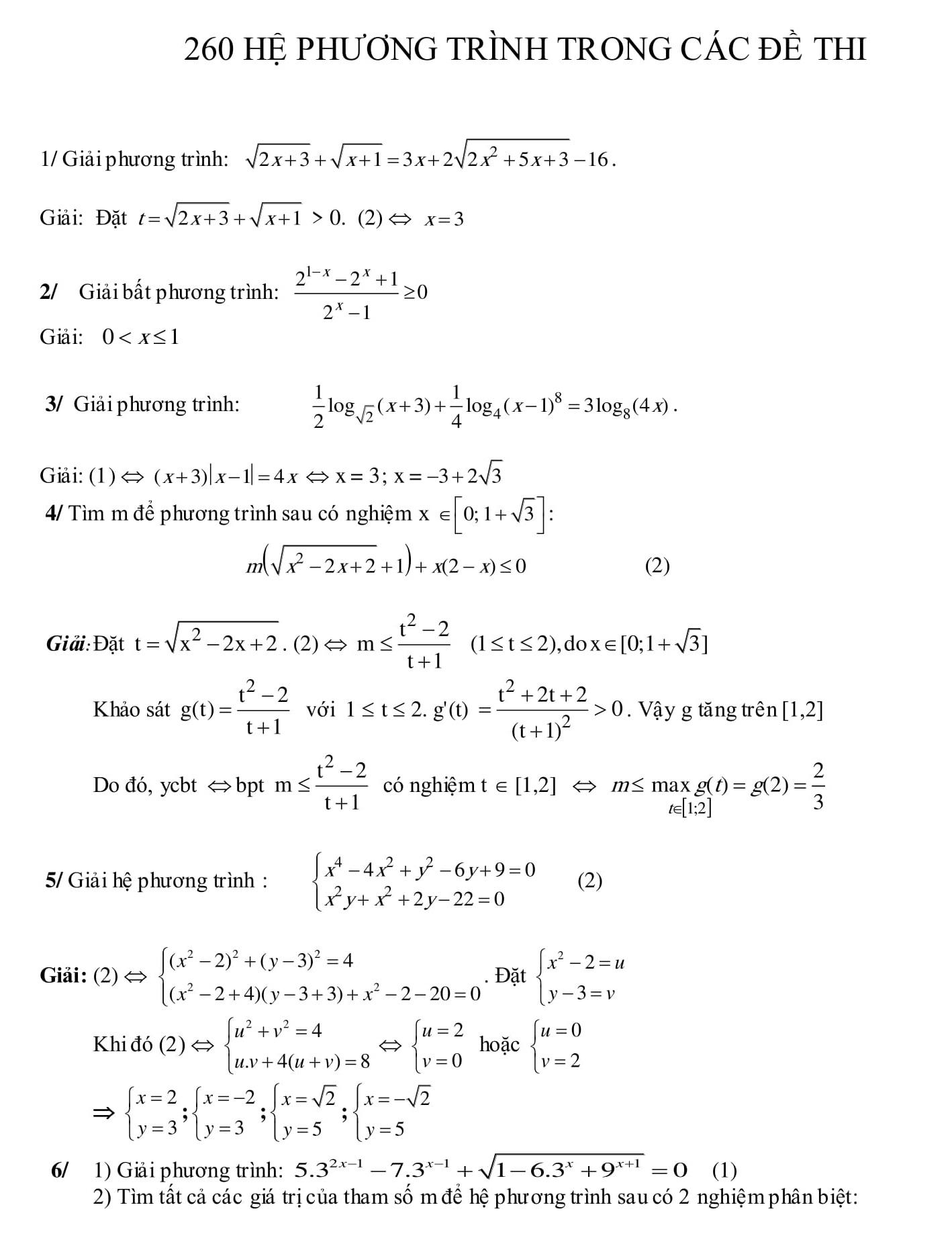 260 Bài tập Hệ phương trình Toán 9 trong đề thi
