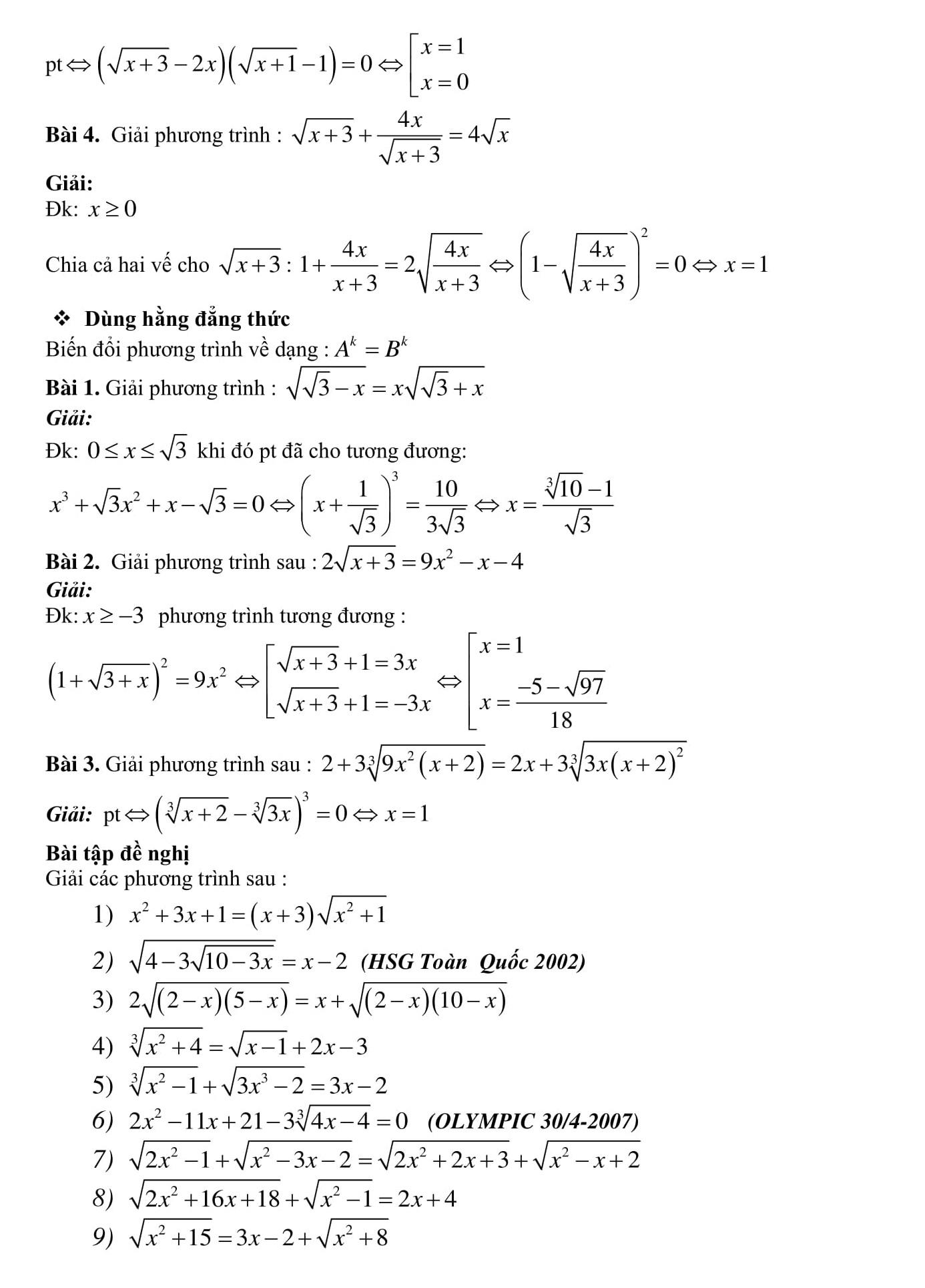 Toán 9 Phương trình vô tỉ -  cơ bản và nâng cao
