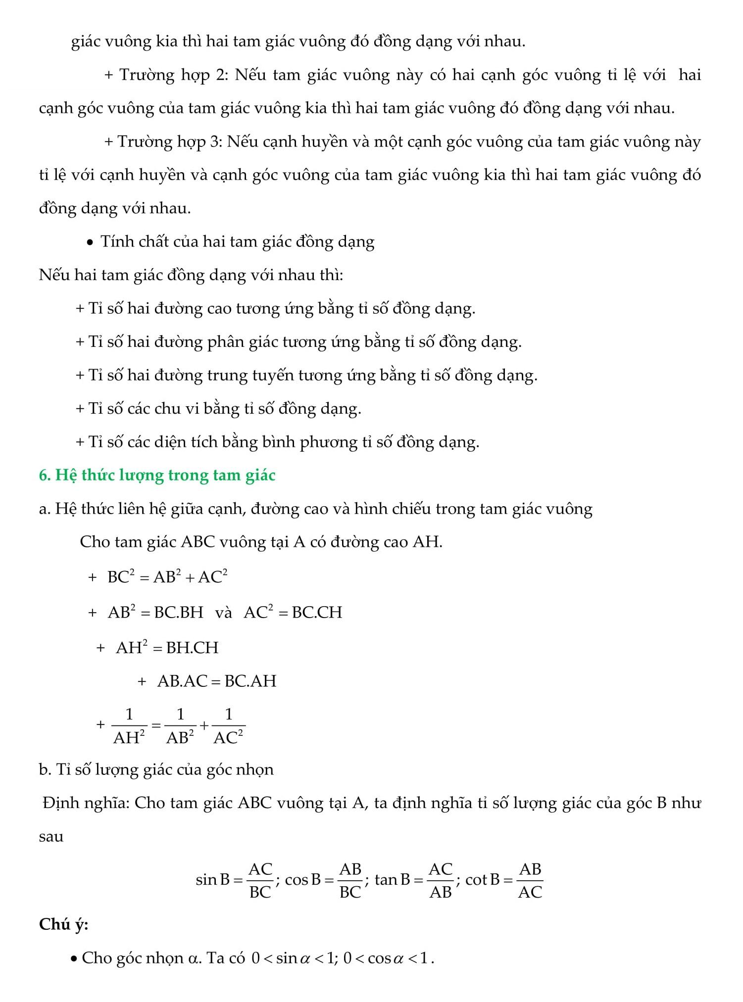 Tam giác và hệ thức lượng trong tam giác - Toán 9
