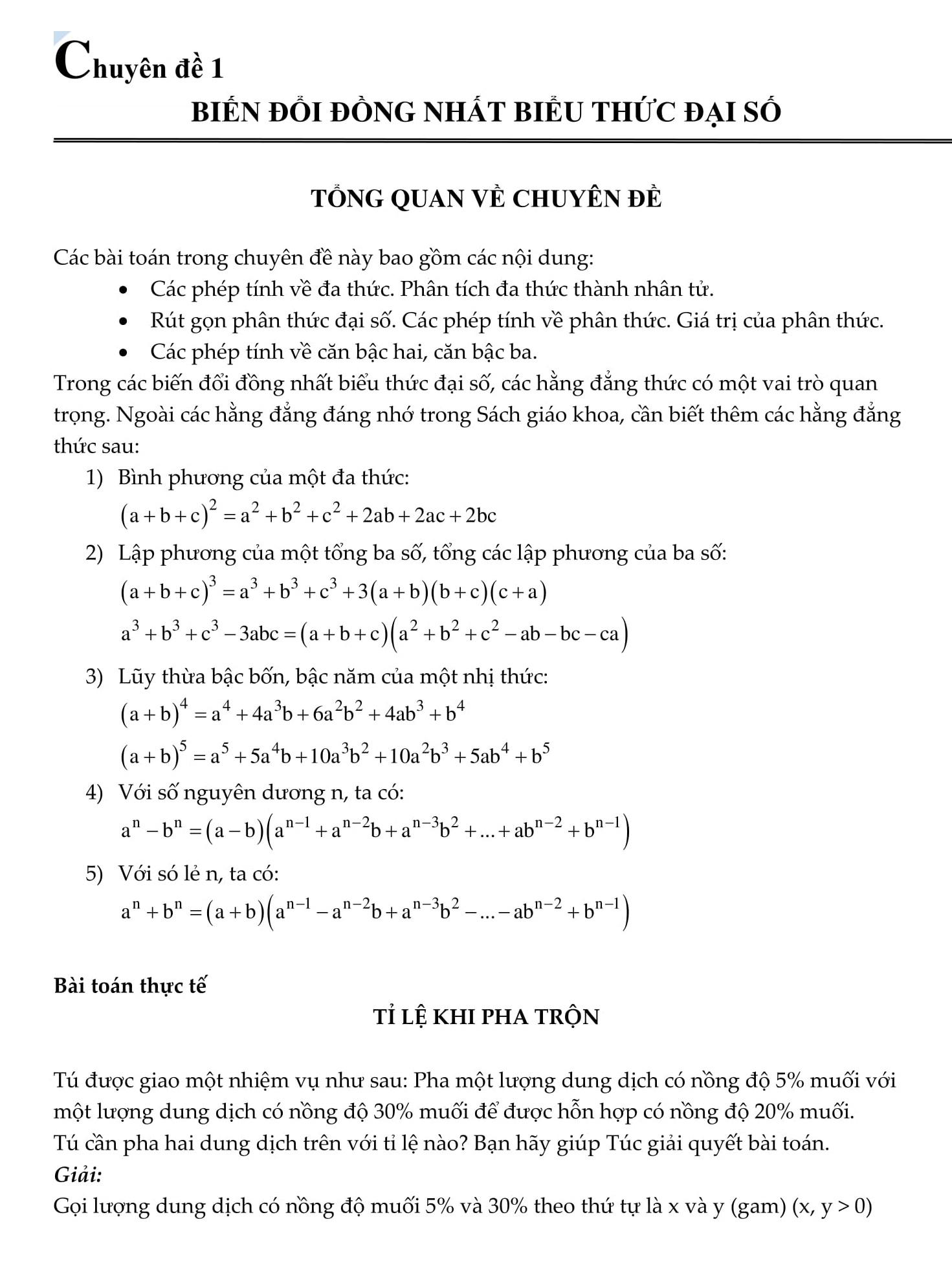 Tổng hợp 9 Chuyên đề bồi dưỡng Toán đại số 9