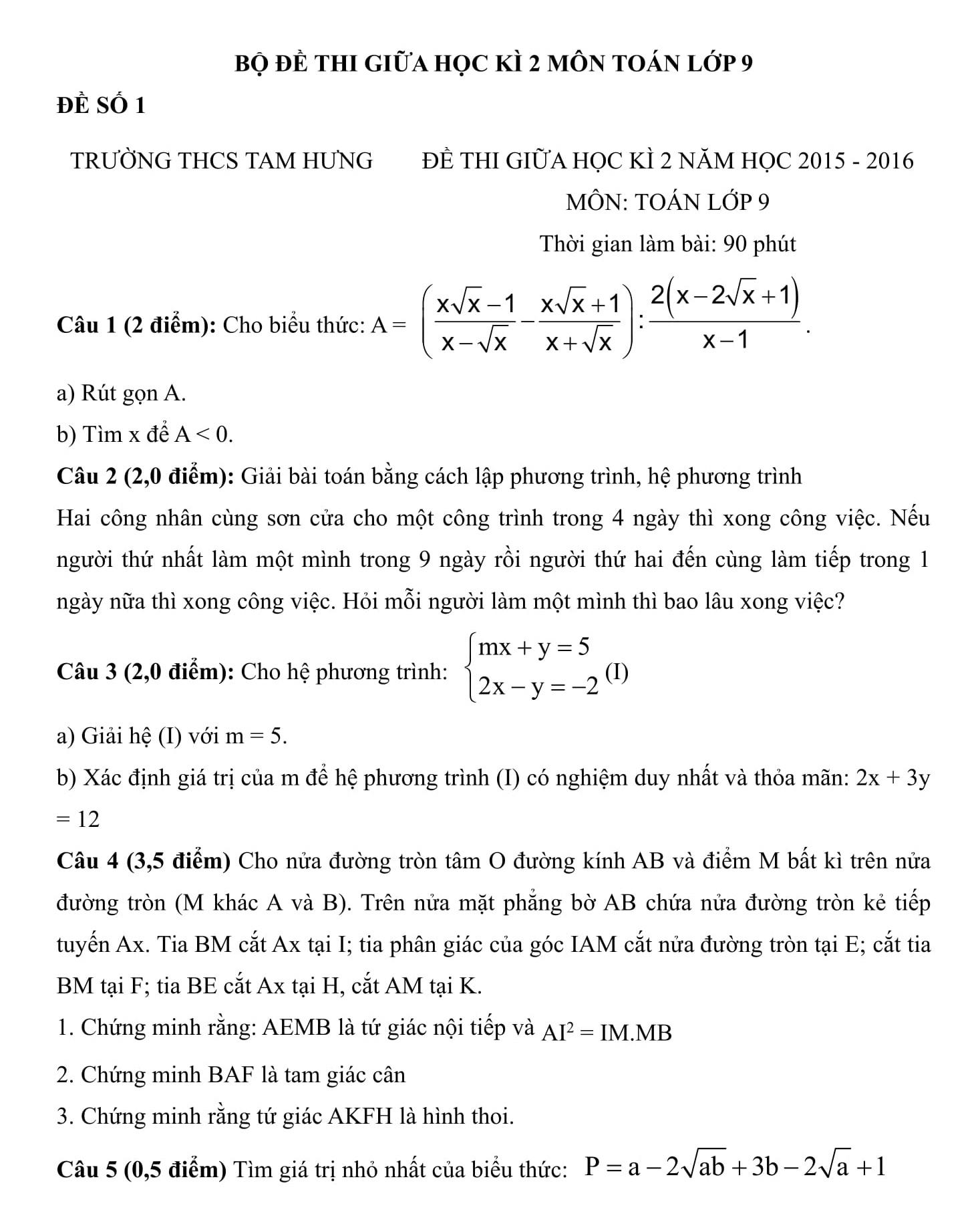 12 Đề thi Giữa HK2 Toán 9 có hướng dẫn giải