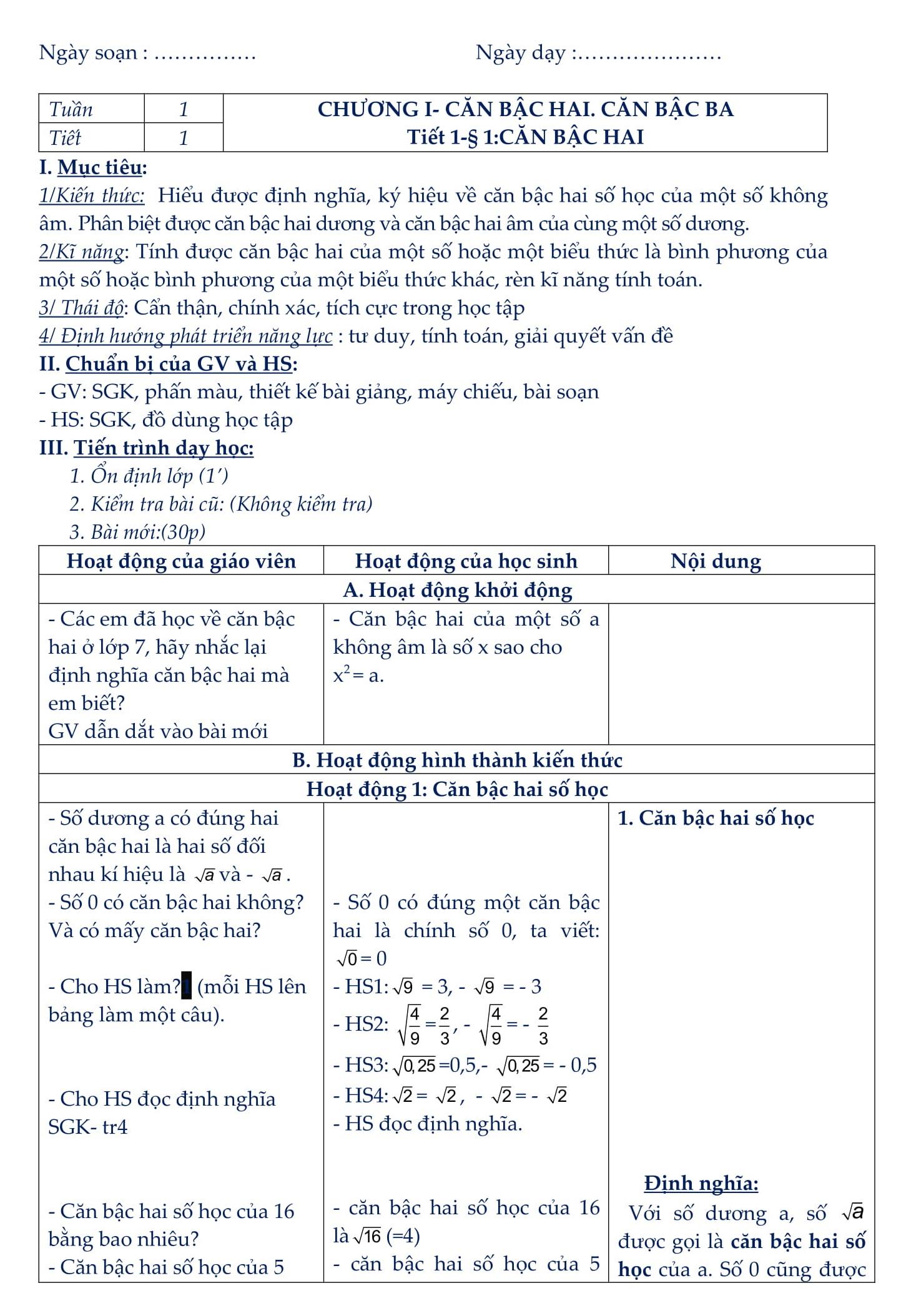 Giáo án Toán 9 Đại số HK1 và HK2 - bản đẹp liệt kê chi tiết