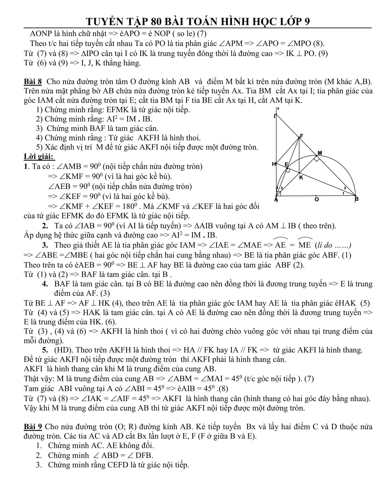 80 bài tập Toán hình 9 có trong các kỳ thi tuyển sinh