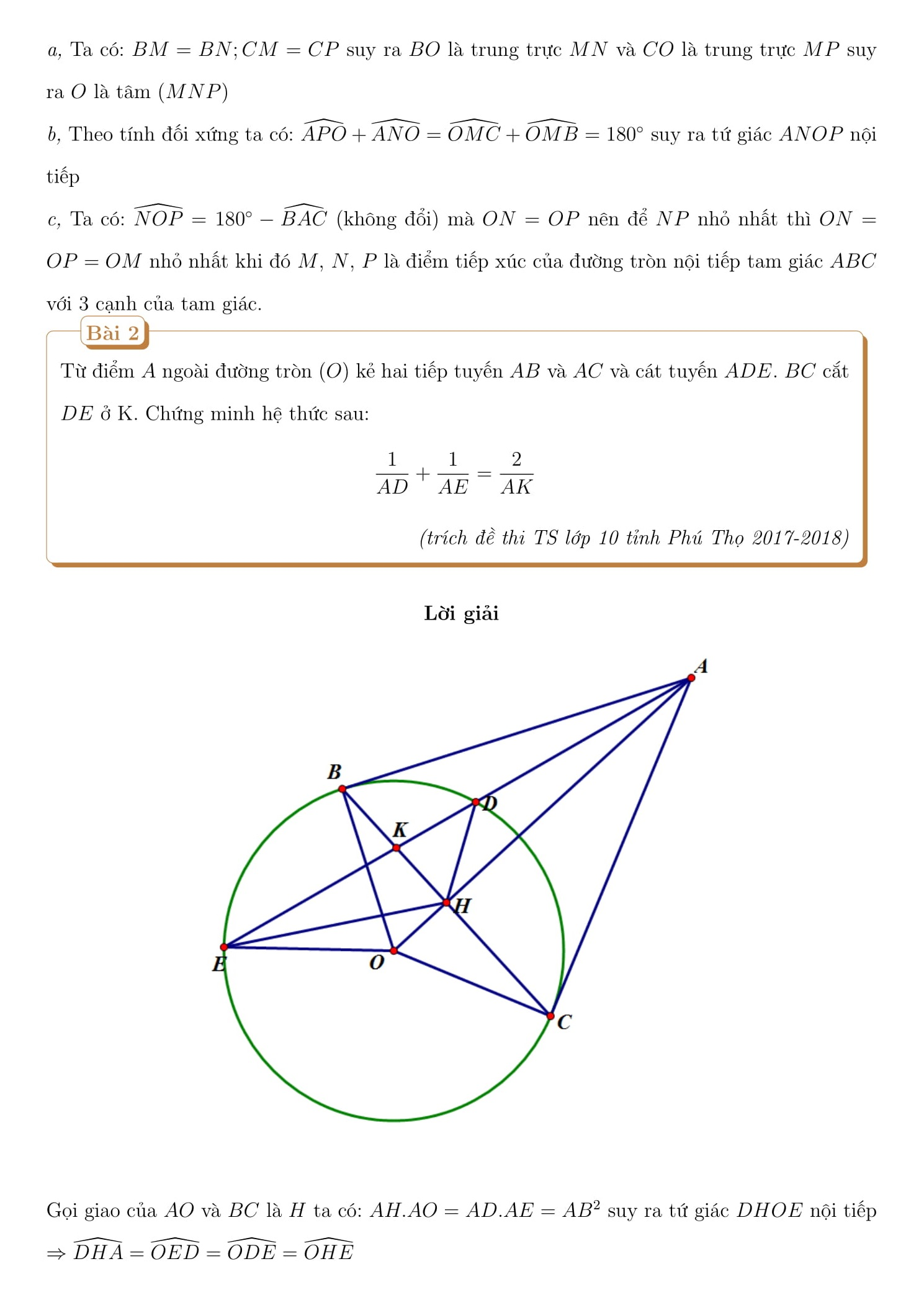 Giải bài tập Tổng hợp Toán hình 9 (bài tập + giải)
